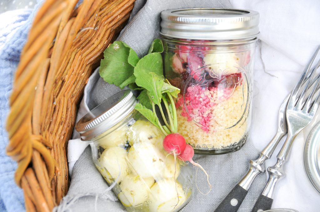 Couscous Salat mit Rote Rübe und Radieschen   Snack Ideen to go