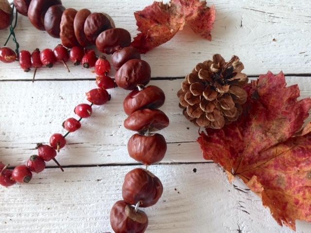 Herbstkranz aus Kastanien und Hagebutten | DIY