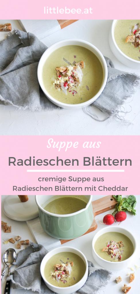 Radieschen Blätter Suppe | cremige Suppe mit Cheddar