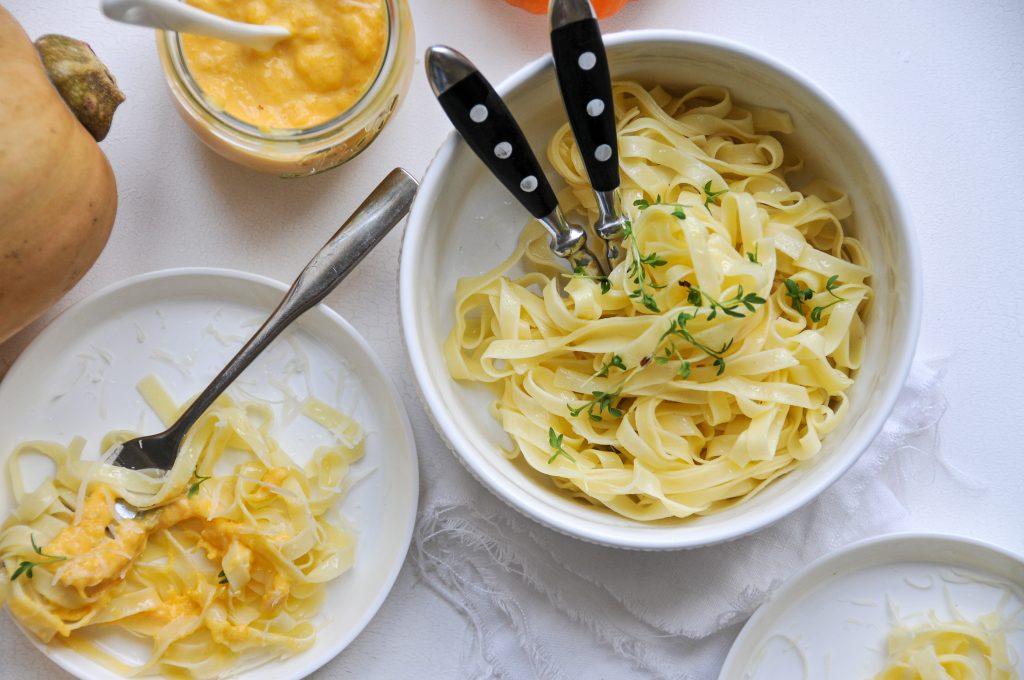 schnelle Kürbis Pasta mit Ziegenfrischkäse | Herbstgerichte