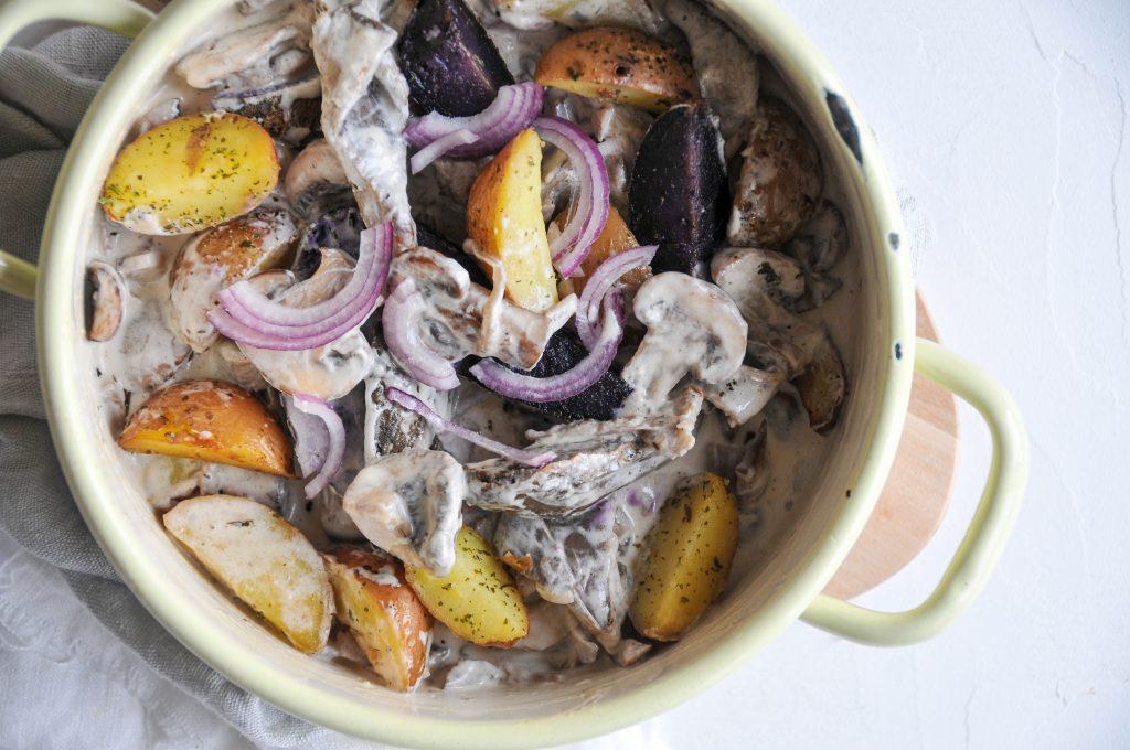 cremige Pilzpfanne mit lila Kartoffeln | Erdäpfel Raritäten von JA! Natürlich