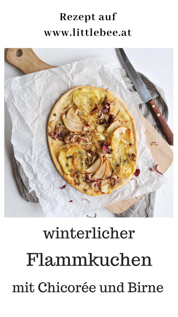 winterlicher Flammkuchen mit Chicorée und Birne