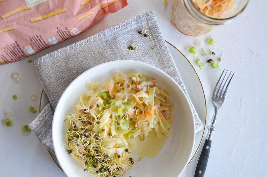 Bandnudeln mit Sauerkraut Schinken Sauce | nachhaltig verpackt mit JA! Natürlich LITTLEBEE